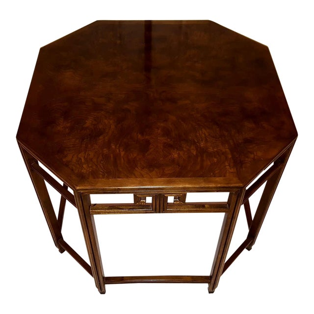 Baker Far East Collection by Michael Taylor Walnut Burl Octoganol End Table - Image 1 of 7
