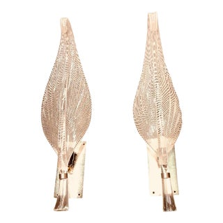Monumental Pair of Gold Leaf Murano Glass Leaf Sconces For Sale