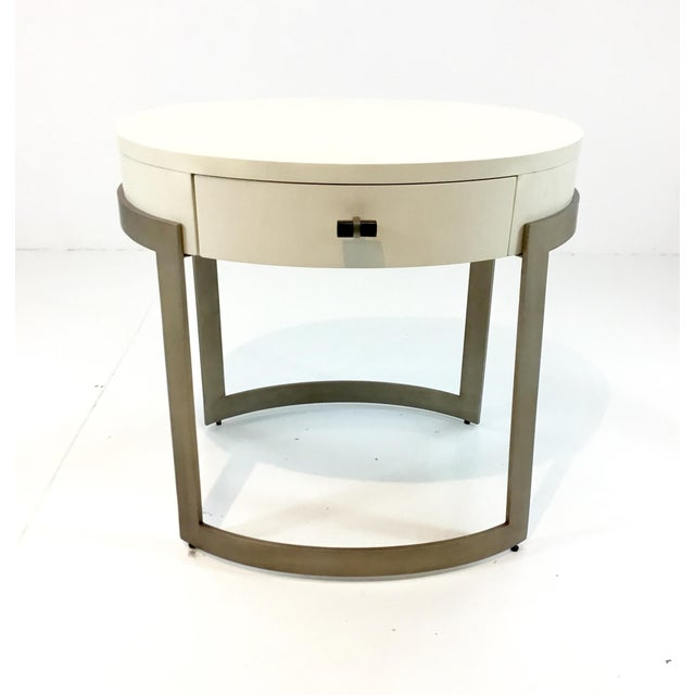 Caracole Ivory and Antique Brass Side Table/Nightstand For Sale In Atlanta - Image 6 of 6