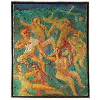 """Jennings Tofel """"Swimmers"""" Expressionist Figurative Scene, Oil on Canvas, 1948 1948 For Sale"""