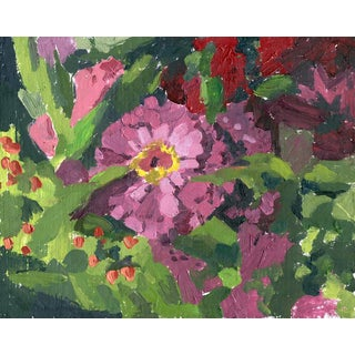 Zinnias: Floral Original Oil Painting by Sarah F Burns For Sale