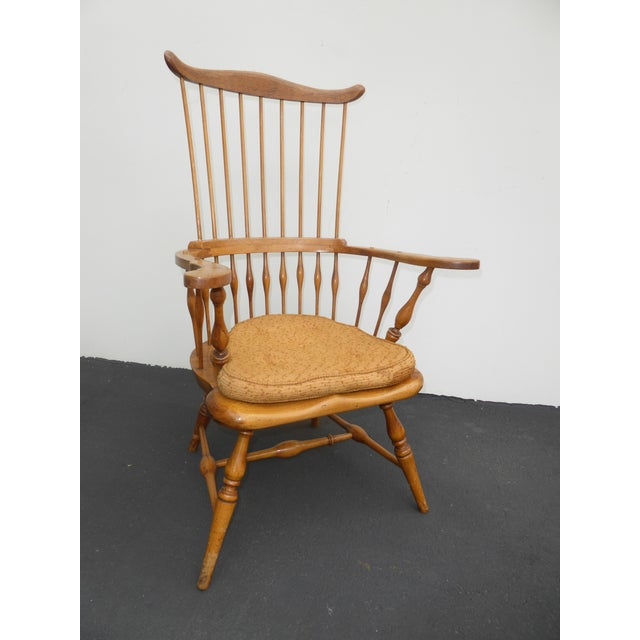Vintage solid wood high banister Windsor chair by Jean of Topanga, made in USA. Unique chair in good vintage condition....