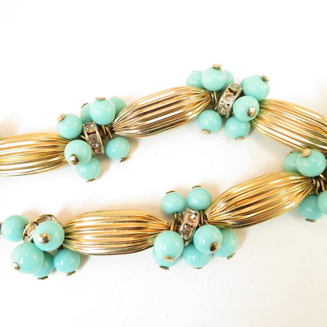 Miriam Haskell Turquoise Glass Necklace & Bracelet Set, Made in Germany 1950s For Sale - Image 10 of 13