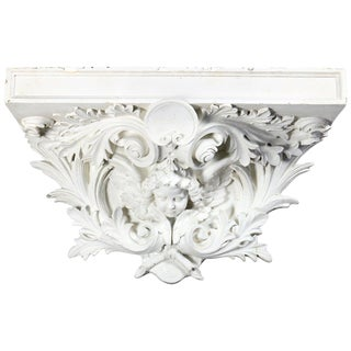 Oversized Architectural Rococo Figural Plaster Cherub & Acanthus Display For Sale