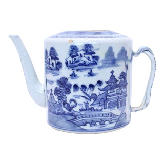 Antique Chinoiserie Blue & White Tea Pot For Sale