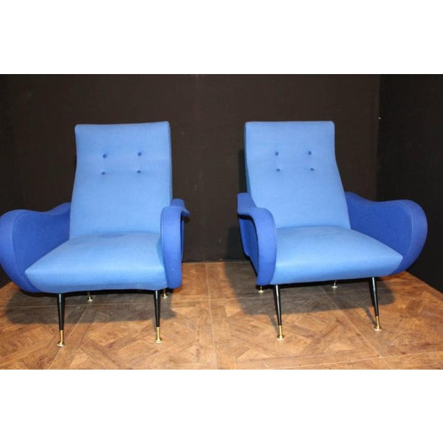 Italian Italian Pair of Blue Mid-Century Chairs in the Style of Zanuso For Sale - Image 3 of 8