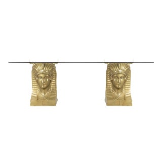 Monumental Brass Pharaoh's Head Dining Table For Sale