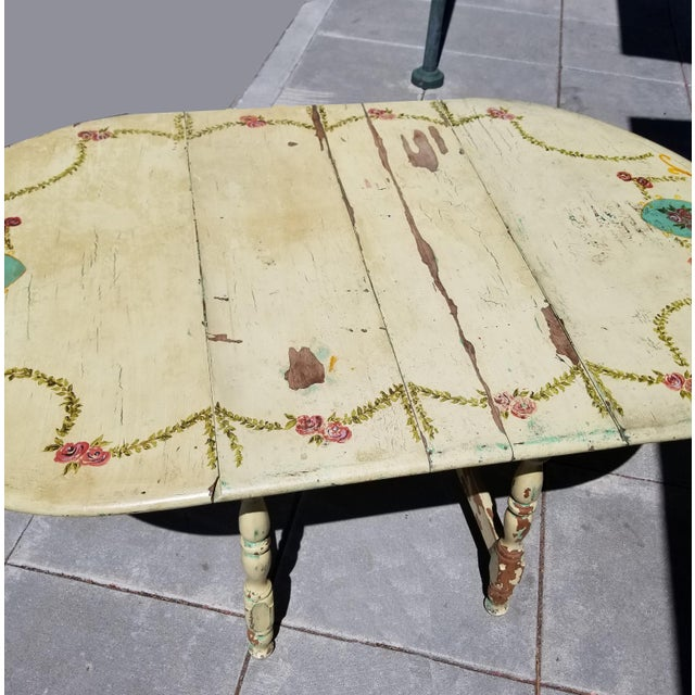 Vintage Hand Painted Shabby Chic Off White Drop Leaf Dining Table French Country Chairish