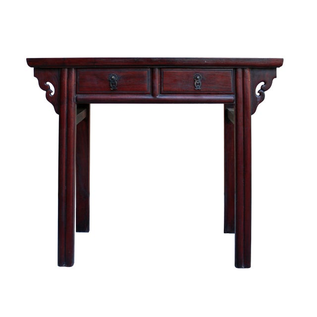 Chinese Low Small Reddish Brown Huali Rosewood Plant Stand Side Table For Sale