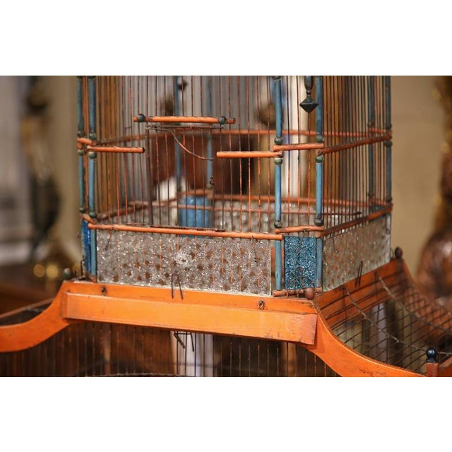 19th Century French Hand-Painted Carved & Wired Birdcage - Image 4 of 8