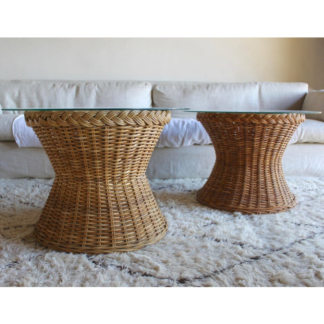 Vintage Mid Century the Wicker Works Rattan Handwoven High End Tulip Side Tables Franco Albini Gabriella Crespi Style - a Pair For Sale - Image 12 of 12