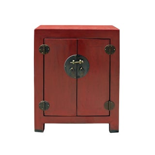 Chinese Distressed Brick Red Metal Hardware End Table Nightstand