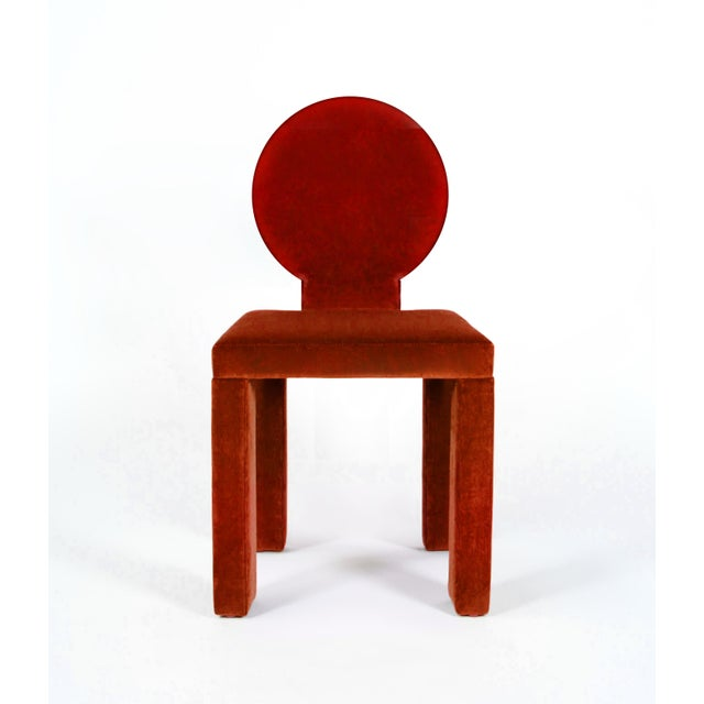 2020s Contemporary Dining Chairs in Crimson Cotton Velvet - Set of 6 For Sale - Image 5 of 7