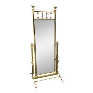 1970s Hollywood Regency Free Standing Brass Floor Mirror