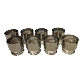 Dorothy Thorpe Drinks Tumblers Silver-Plate and Gold Rims - Set of 8 For Sale
