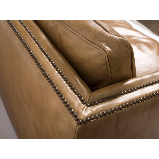 Leather 1970s Vintage Leather Nailhead Cube Settee For Sale - Image 7 of 10