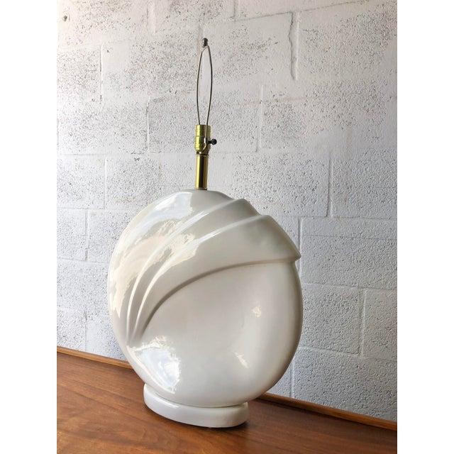 Mid-Century Modern 1980s Art Deco Revival White Ceramic Table Lamp. For Sale - Image 3 of 10
