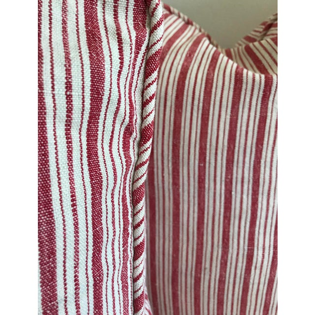 French Provincial Vintage French Ticking Stripe Pillow Covers in Red - a Pair For Sale - Image 3 of 8
