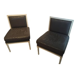 Grey Accent Chairs - a Pair For Sale