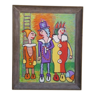 1960s Vintage Stephen Slomko Clown Painting For Sale