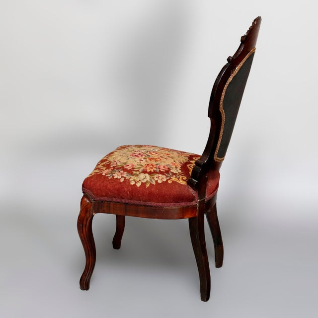 Mid 19th Century Mid 19th Century Antique Victorian Carved Walnut and Floral Needlepoint Parlor Chair For Sale - Image 5 of 7