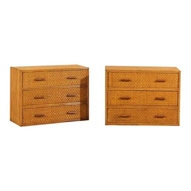Handsome Pair of Restored Vintage Bamboo and Rattan Chests For Sale