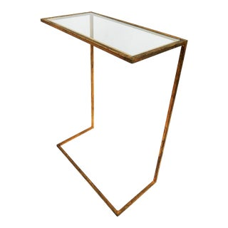 1960s Cantilevered Gilded Metal Side Table For Sale