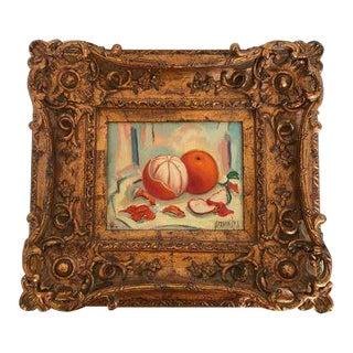 Framed Signed Oil Painting of Still Life Oranges For Sale