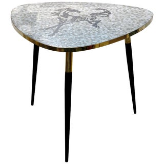 1953 Italian Vintage Black White Gray Horse Mosaic Brass Dining / Coffee Table For Sale