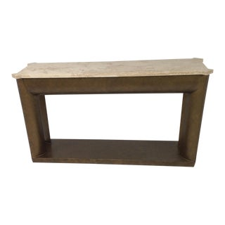 Travertine Top Modern Console