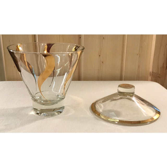 Mid Century Gold and Clear Glass Lidded Ice Bucket - Image 9 of 11