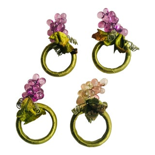 Vintage Acrylic Grape Napkin Rings - Set of 4 For Sale