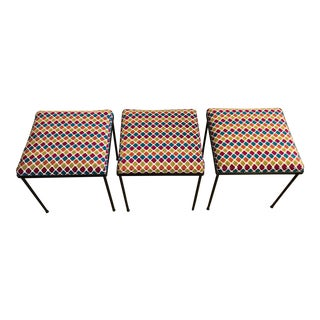1970s Upholstered Iron Stools - Set of 3