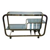 Image of Milo Baughman Brass and Glass Bar Cart For Sale