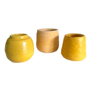 Vintage Mid Century Modern Studio Art Pottery Handcrafted Small Ceramic Vessels - Set of 3 For Sale