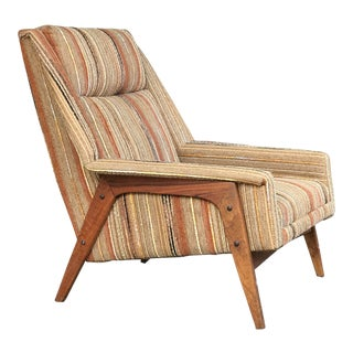 1960s Mid-Century Modern Folke Ohlsson for Dux Walnut Lounge Chair For Sale