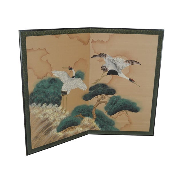 Oriental Hand Painted 2 Part Screen W/ Cranes by Fortune Hong Kong For Sale