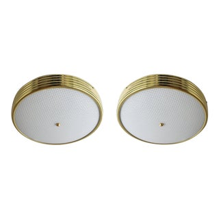 Italian Brass Ceiling Lights - a Pair For Sale