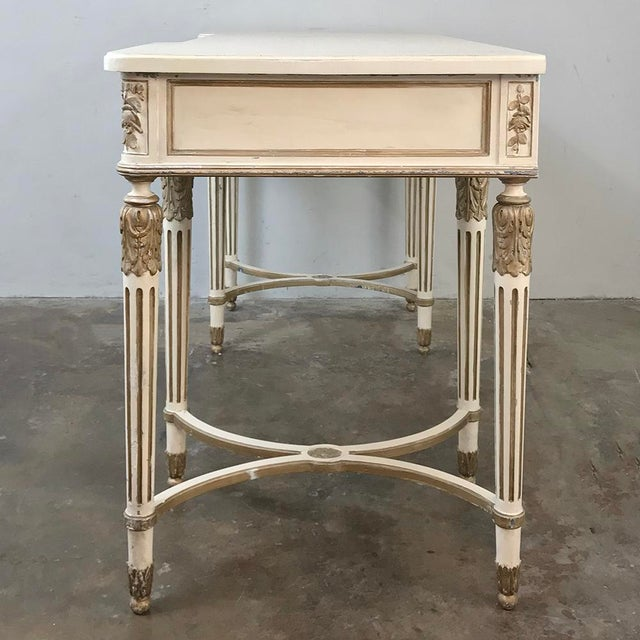 Antique Italian Neoclassical Painted Sofa Table ~ Vanity ~ Writing Desk For Sale - Image 9 of 13
