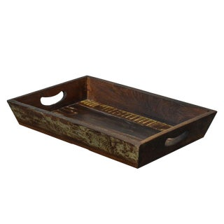 Rustic Primitive Style Reclaimed Wood Serving Tray For Sale