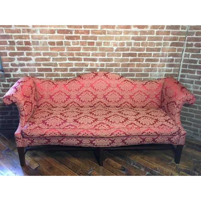 Fabric 20th Century Red Damask Camelback Sofa For Sale - Image 7 of 7