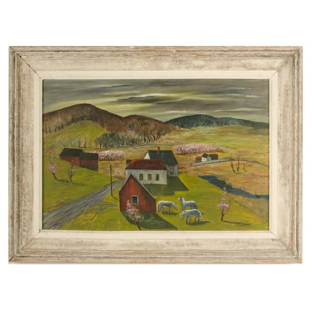 """Mid 20th Century """"Peach Orchard in the Valley"""" Landscape Oil Painting by Charles Harsanyi, Framed For Sale - Image 13 of 13"""