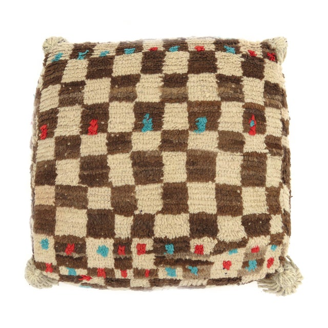 Boho Chic Vintage Mid Century Checkered Berber Pouf For Sale - Image 3 of 11