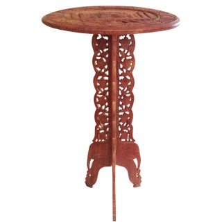 Vintage Taj Mahal Motif Carved Wood Table Side Table Drink Drop For Sale