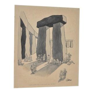 "William O'Brian New Yorker Cartoonist Original ""Stonehenge"" Cartoon c.1950s For Sale"