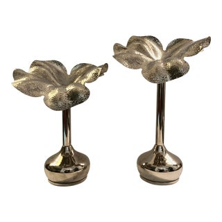 Silverplate Flower Candle Holders/2 For Sale