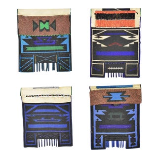 Vintage Set of 4 Ndebele Mapoto Beaded Aprons From South Africa Canvas Backed For Sale