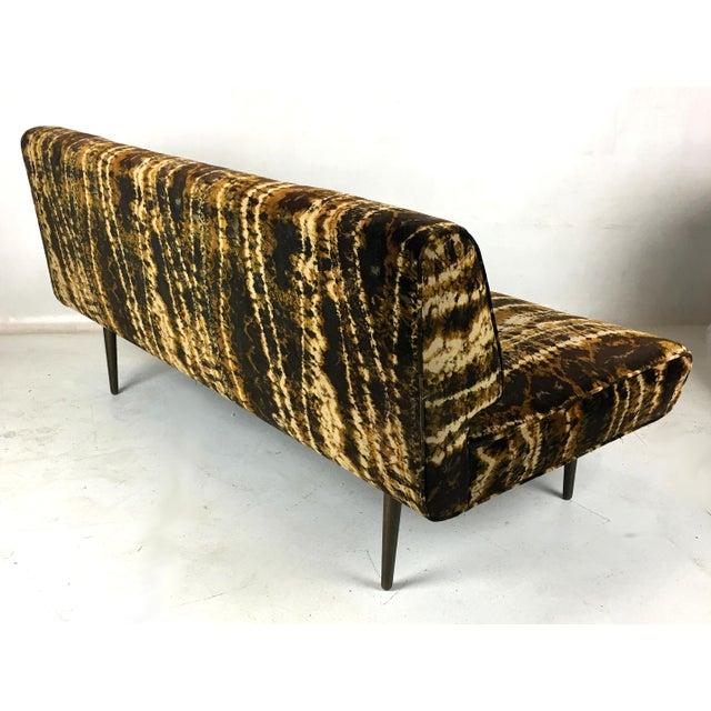 Dunbar Berne Sofa or Bench With Brass Legs by Edward Wormley for Dunbar-Larsen Velvet For Sale - Image 4 of 8