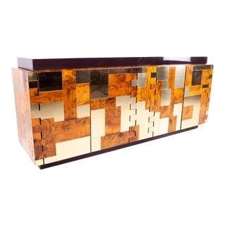 Paul Evans Mid Century Brass and Burlwood Brutalist Sideboard Buffet Credenza For Sale
