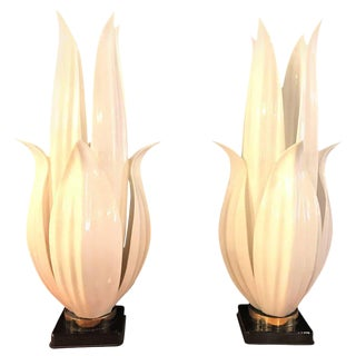 Vintage Rougier Lucite & Brass Table Lamps - A Pair